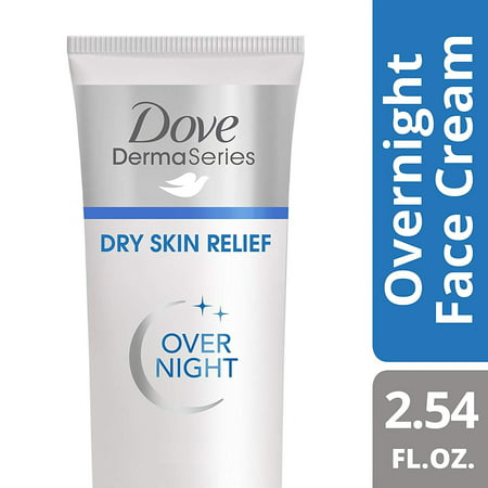 DOVE DERMASERIES FACE dry skin relief for dry, dehydrated skin fragrance, free overnight face cream, 2.54 Ounce