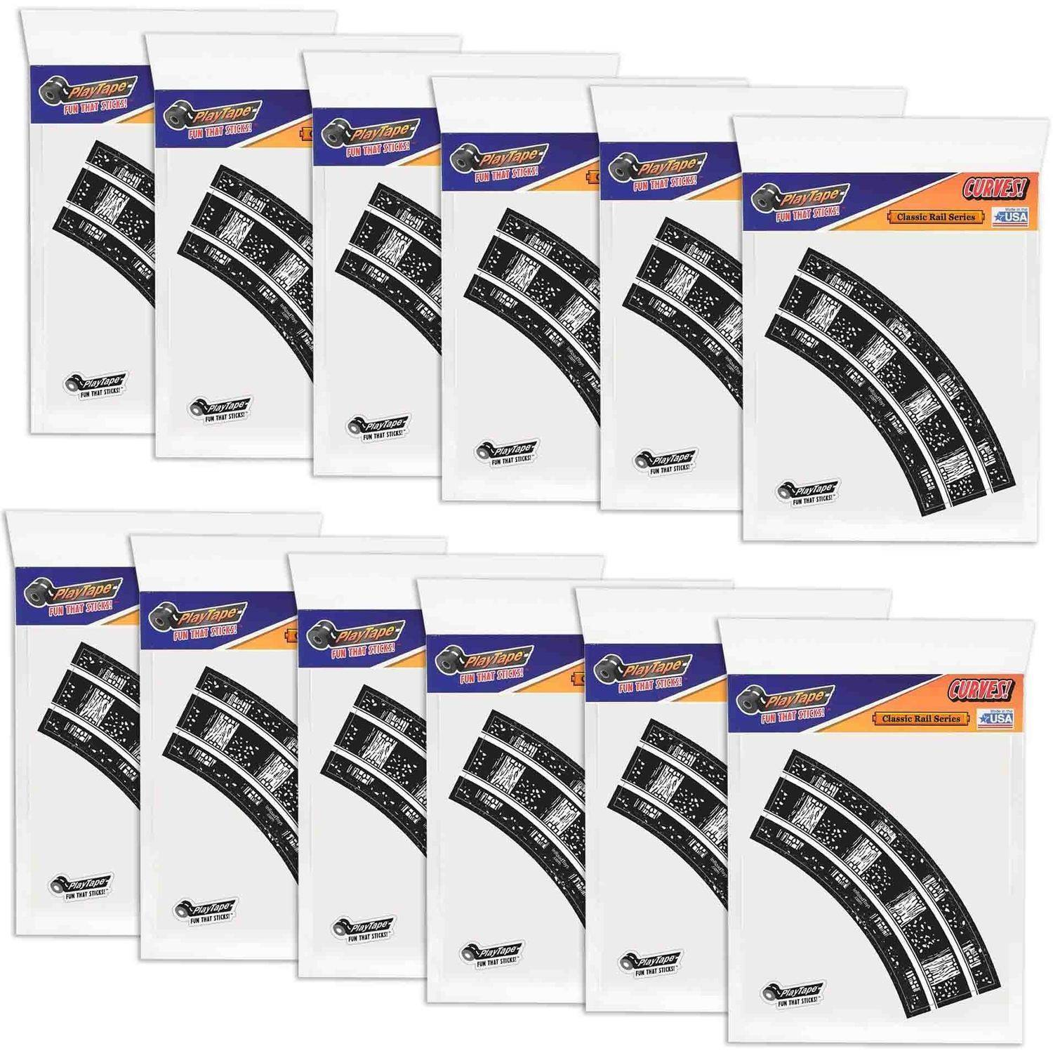 "PlayTape Off-Road Series Bundle 2"" Train Track Curves, Full Case with 48 Curves"