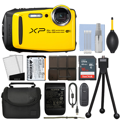 Fujifilm FinePix XP120 16.4MP Digital Camera Yellow Full-HD + 16GB Kit - Refurbished