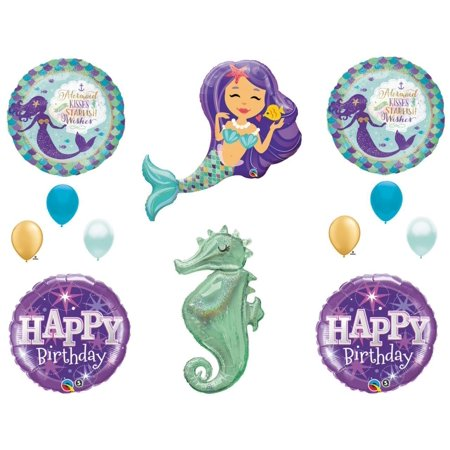 Mermaid Kisses & Seahorse Birthday Party Balloons Decoration Supplies Ocean Luau - Latex Mermaid