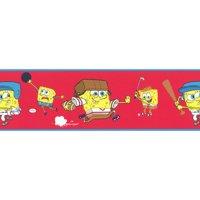Brewster Home Fashions 12440886 Spongebob Squarepants Sports Red Prepasted Wall Border