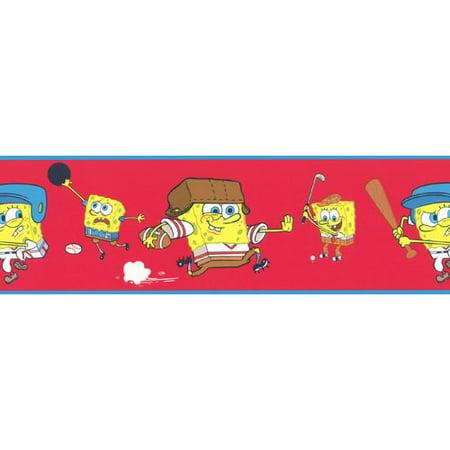 Brewster Home Fashions 12440886 Spongebob Squarepants Sports Red Prepasted Wall Border (Spongebob Themes)