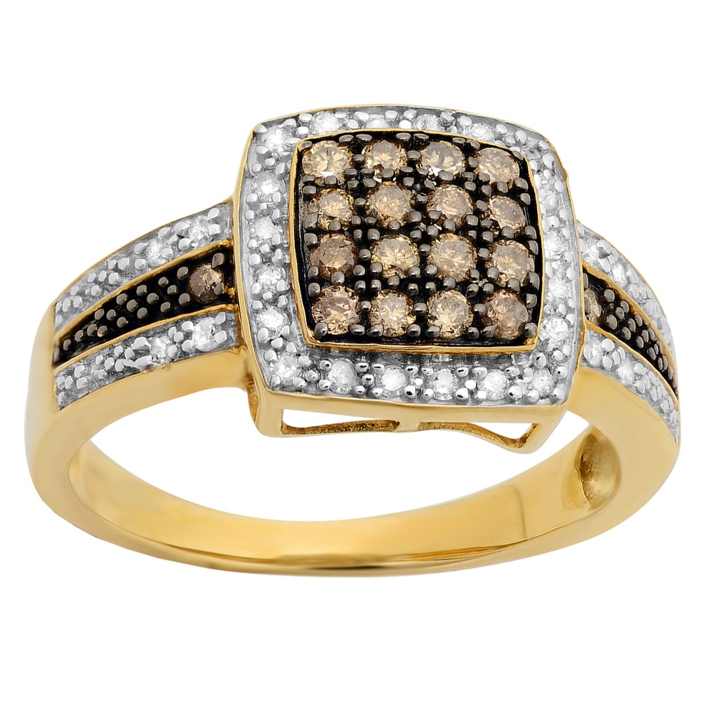 Elora 10k Yellow Gold 1/2ct TW White and Champagne Diamond Right Hand Ring
