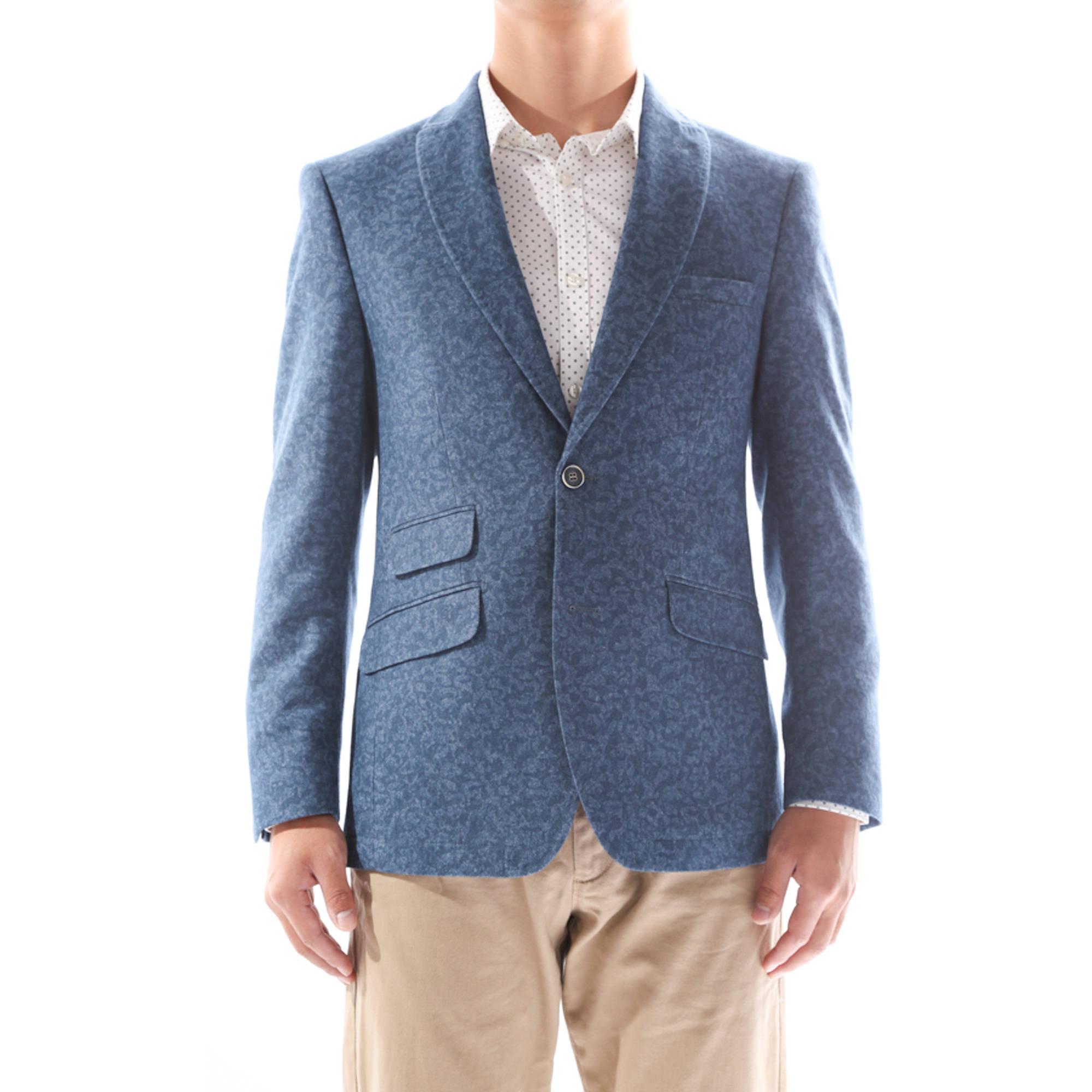 Verno Calvo Men's Blue Patterned Slim Fit Italian Styled Wool Blazer