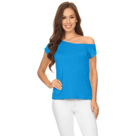 Simlu Womens Loose Off Shoulder Tops Short Sleeve Casual T Shirt Top - USA