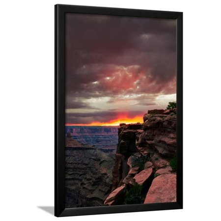 Red sunset with moody clouds and red rock canyons in Dead Horse Point State Park near Moab, Utah Framed Print Wall Art By David (4 Horses Of The Apocalypse Red Dead)