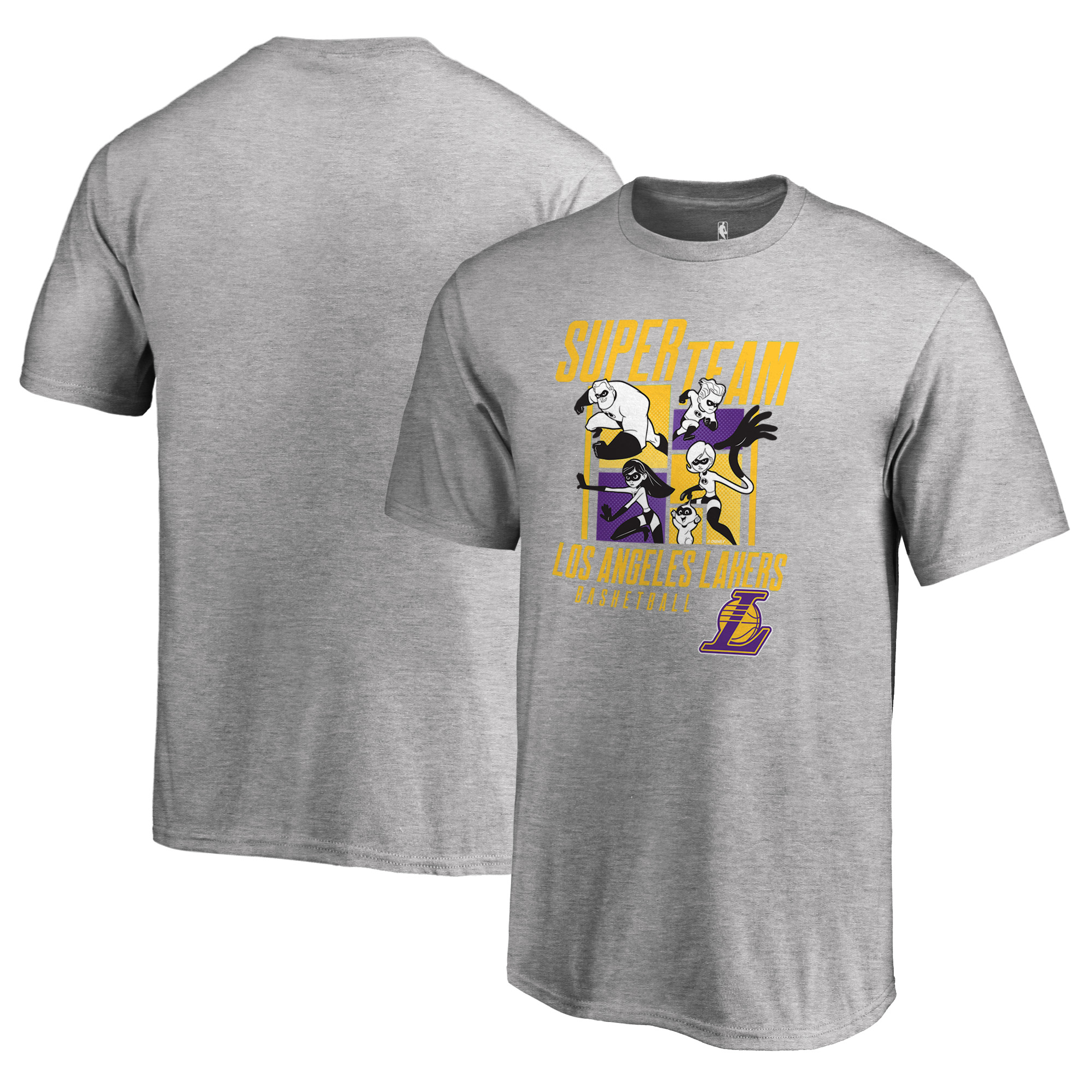 Los Angeles Lakers Fanatics Branded Youth Disney Pixar The Incredibles Super Team T-Shirt - Heathered Gray