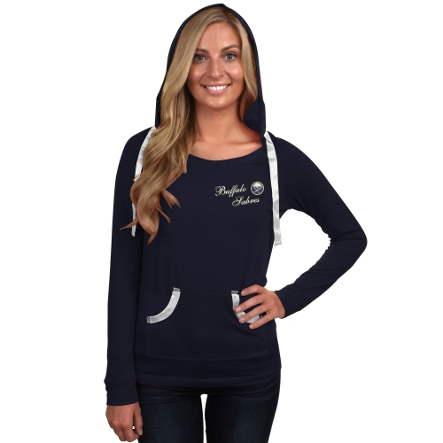 Buffalo Sabres Womens Concepts Luxe Long Sleeve Hooded T-Shirt Navy Blue by COLLEGE CONCEPTS