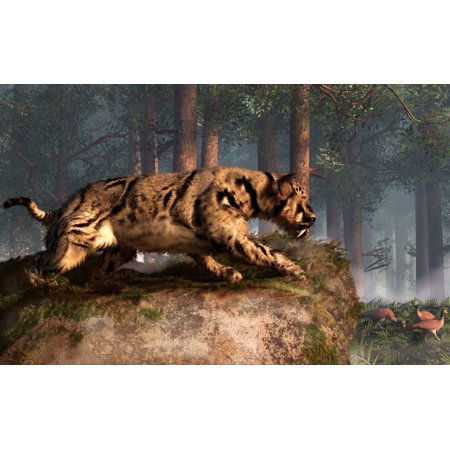 Dinofelis A Prehistoric Cat Gets Ready To Attack A Group Of Pheasants Canvas Art   Daniel Eskridgestocktrek Images  36 X 23