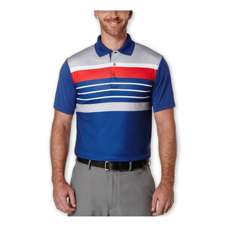 Pga Tour Mens Heathered Stripe Rugby Polo Shirt