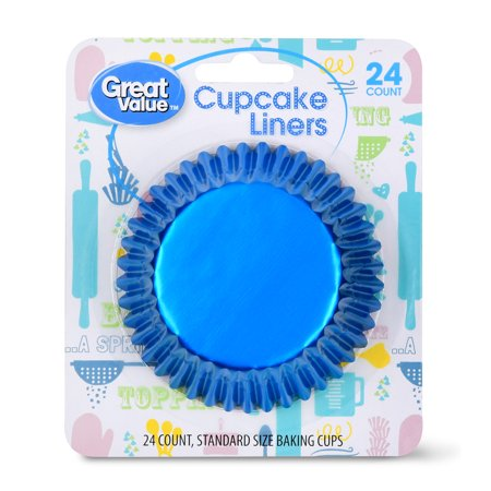 Great Value Cupcake Liners, Metallic Blue, 24 Count (Sky Blue Cupcake Liners)
