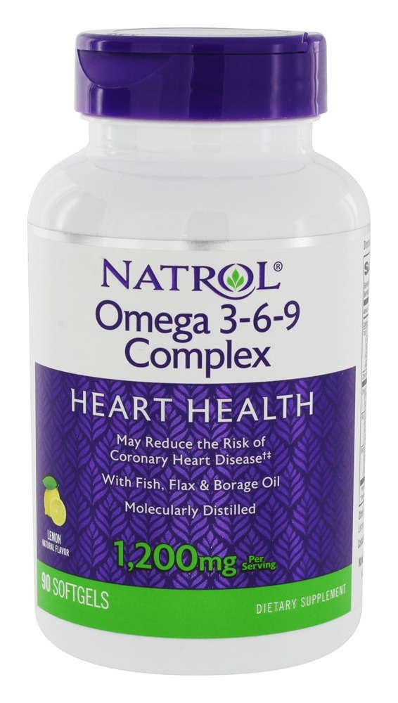 Natrol Omega 3 6 9 Complex For Heart Health Lemon Flavor 1200 Mg