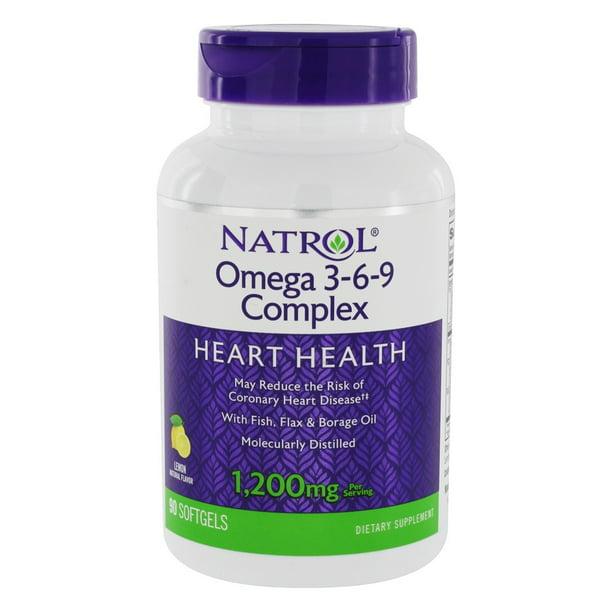 Natrol Omega 3 6 9 Complex For Heart Health Lemon Flavor 1200 Mg