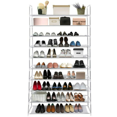 10 Tiers Stackable Shoe Rack Organizer 50 Pairs Shoe Tower Shelves with Sturdy Metal Frame and Durable ()