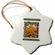 3dRose Gingerbread Girl, Babys First Christmas, Granddaughter - Snowflake Ornament, 3-inch