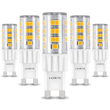 Luxrite G9 LED Bulb, 50W Equivalent, 550 Lumens, 2700K Warm White, Dimmable, 5W T4 Bulb, G9 Base - Chandelier Lighting, Sconce, Under Cabinet, Ceiling Fan, and Accent Lighting (5-Pack)
