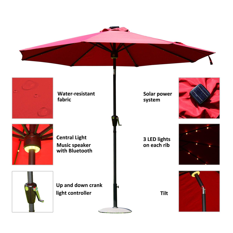 Outsunny 9 Solar Led Market Patio Umbrella W Bluetooth Wine Red