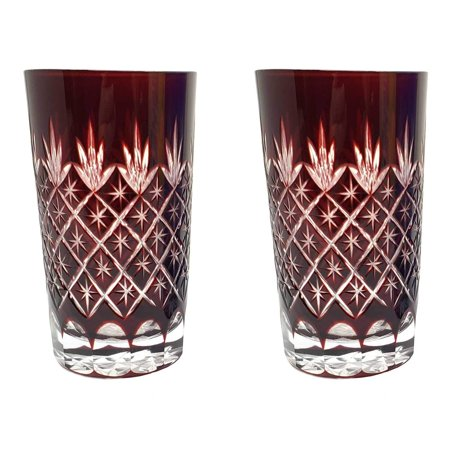 Set of 2 Exquisite Bohemian Crystal Cut Czech Drinking Rock Glasses Tumbler Set for Whiskey Bourbon, Scotch,Beverage-Ruby Red (Bohemia Crystal Glasses)