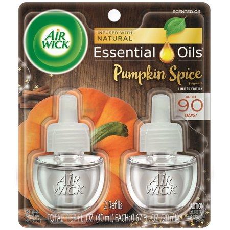 Air Wick plug in Scented Oil 2 Refills, Pumpkin Spice, (2x0.67oz), Air Freshener, Essential Oils, Fall Scent, Fall décor (Spike Plug)