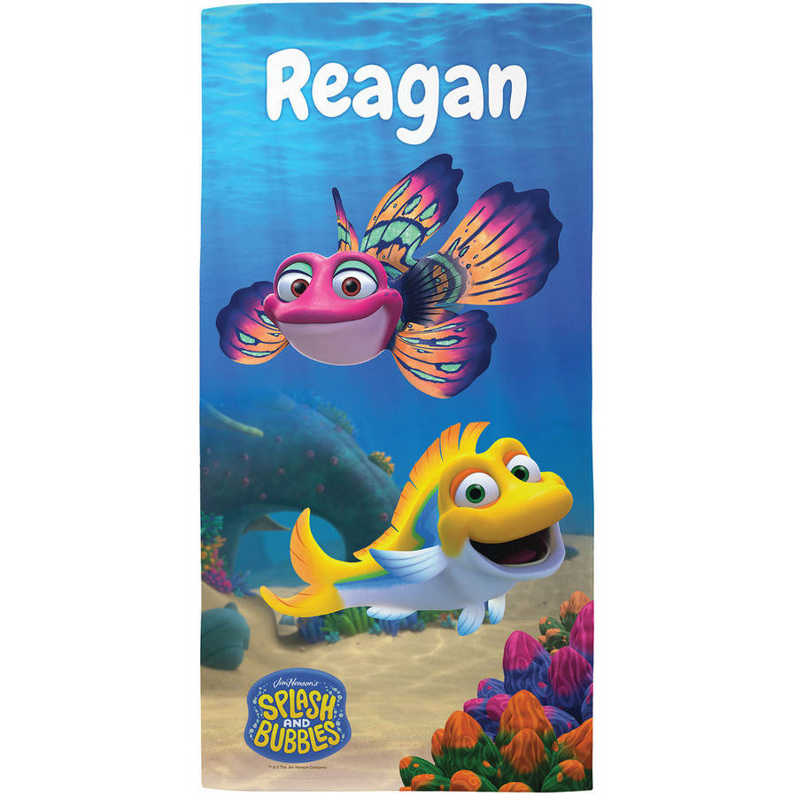Personalized Splash And Bubbles Beach Towel