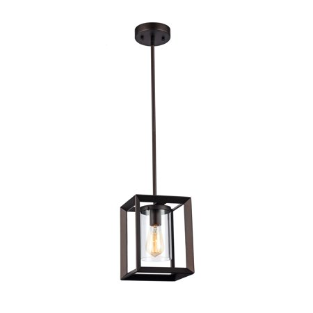 "CHLOE Lighting IRONCLAD Industrial-style 1 Light Rubbed Bronze Ceiling Mini Pendant 7"" Shade"
