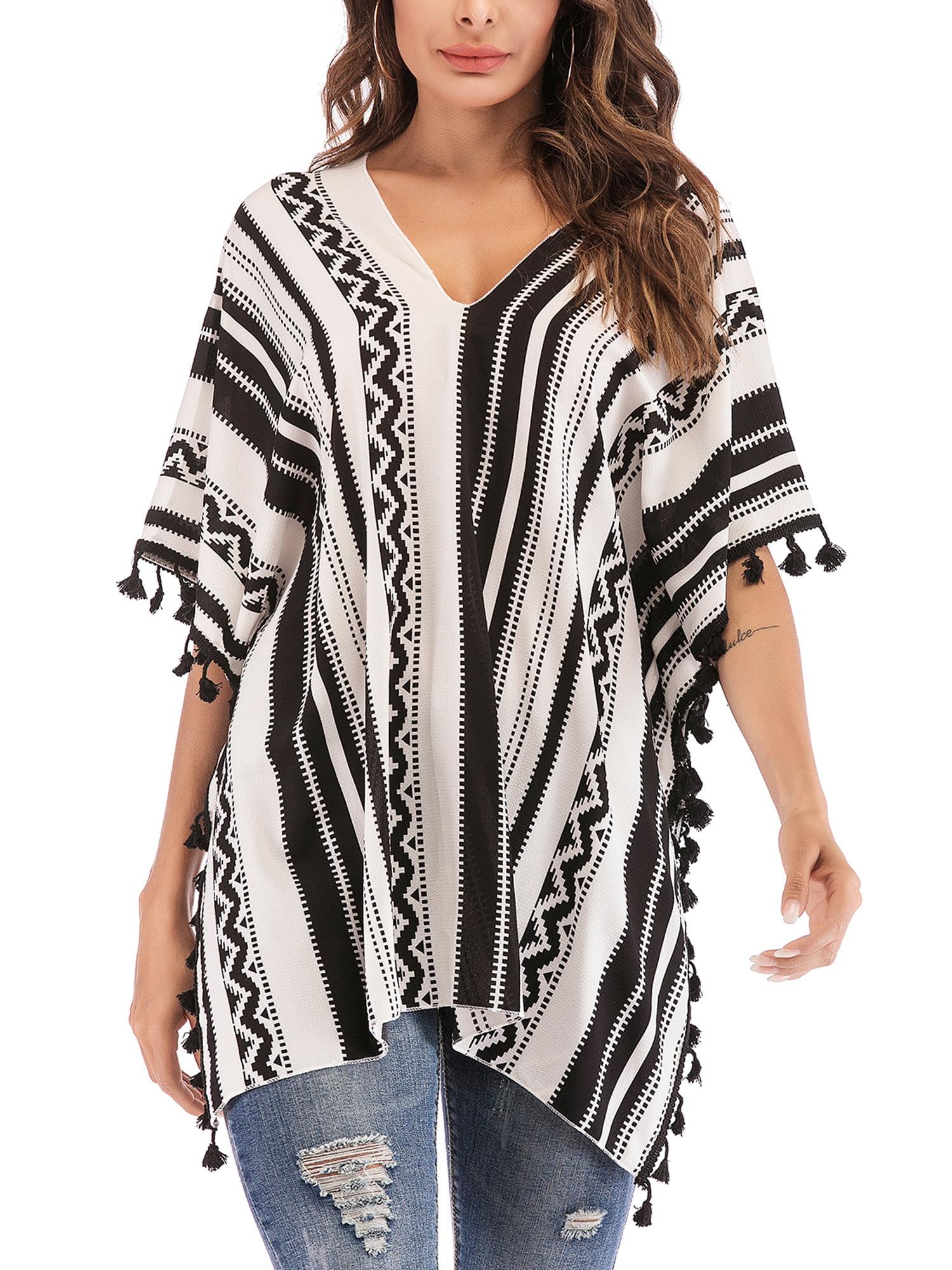3146343c63394 Women Chiffon Tassel Bohemian Swim Cover Ups Bikini Tunic Beach Dress  Summer Casual Shirt Dress Irrgular Hems Boho Style Poncho Swimsuit Beach  Stylish ...
