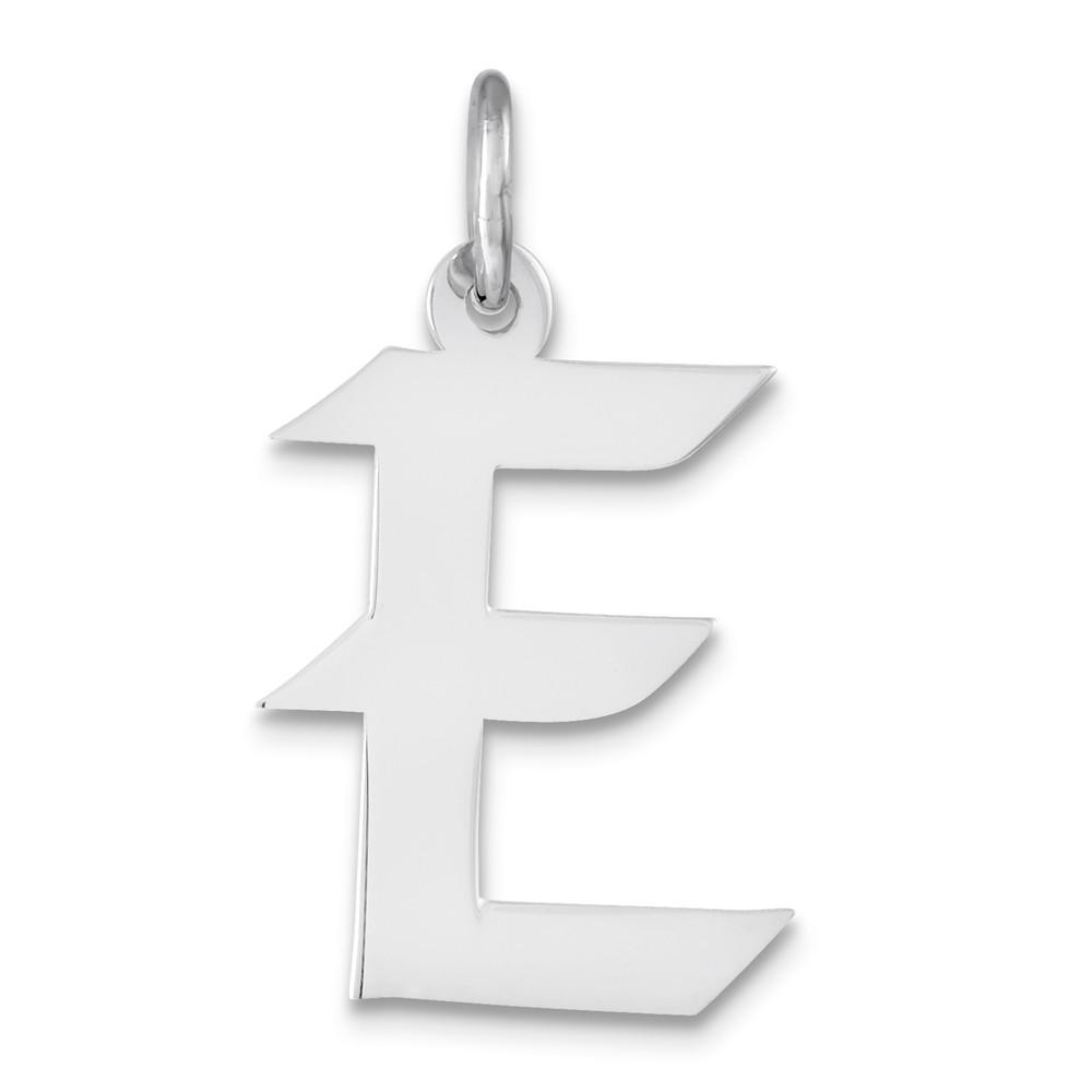 Sterling Silver Medium Artisian Block Initial E Charm (0.8in long x 0.5in wide)