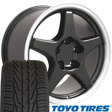 17 Camaro Zr1 Wheels (OE Wheels 17 Inch Fit Corvette Camaro CV01 ZR1 Style Black Mach'd Lip 17x9.5 Rims Toyo Extensa Tires Hollander 5035 SET )
