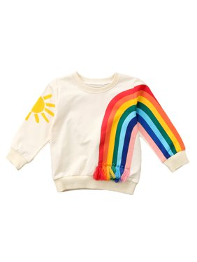 Toddler Baby Girl Fall Casual Rainbow Long Sleeve Cotton Sweatshirt Tops Clothes