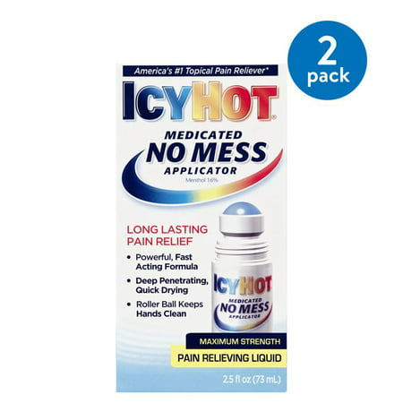 (2 Pack) Icy Hot Medicated No Mess Applicator Pain Relieving Liquid, 2.5