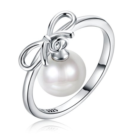 Ginger Lyne Collection Brooke Bow Dangle Simulated Pearl 925 Sterling Silver Ring