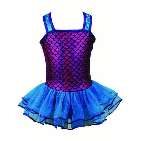 Reflectionz Little Girls Fuchsia Turquoise Sequin Mermaid Tutu Dress 2-6 (Dress Up Little Mermaid)