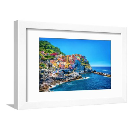 Beautiful Colorful Cityscape on the Mountains over Mediterranean Sea, Europe, Cinque Terre, Italian Coastal Village Framed Print Wall Art By Anna Omelchenko