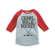 7 ate 9 Apparel Kids Crawl Walk Hockey Red Baseball Tee 4T