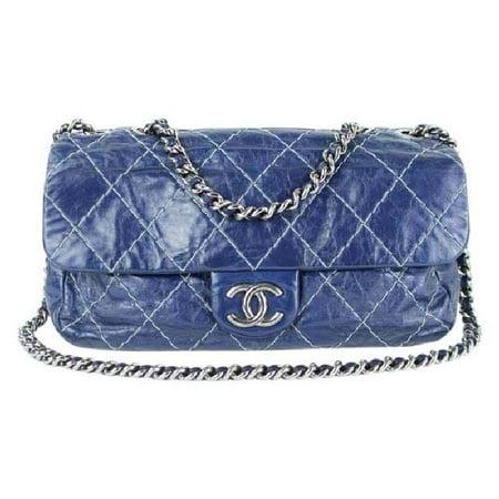 9c83d016121 Classic Flap Quilted Surpique 219133 Navy Blue Leather Shoulder Bag ...
