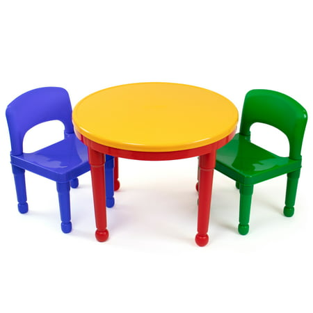 Humble Crew Kids 2-in-1 Plastic Building Blocks Compatible Activity Table and 2 Chairs Set