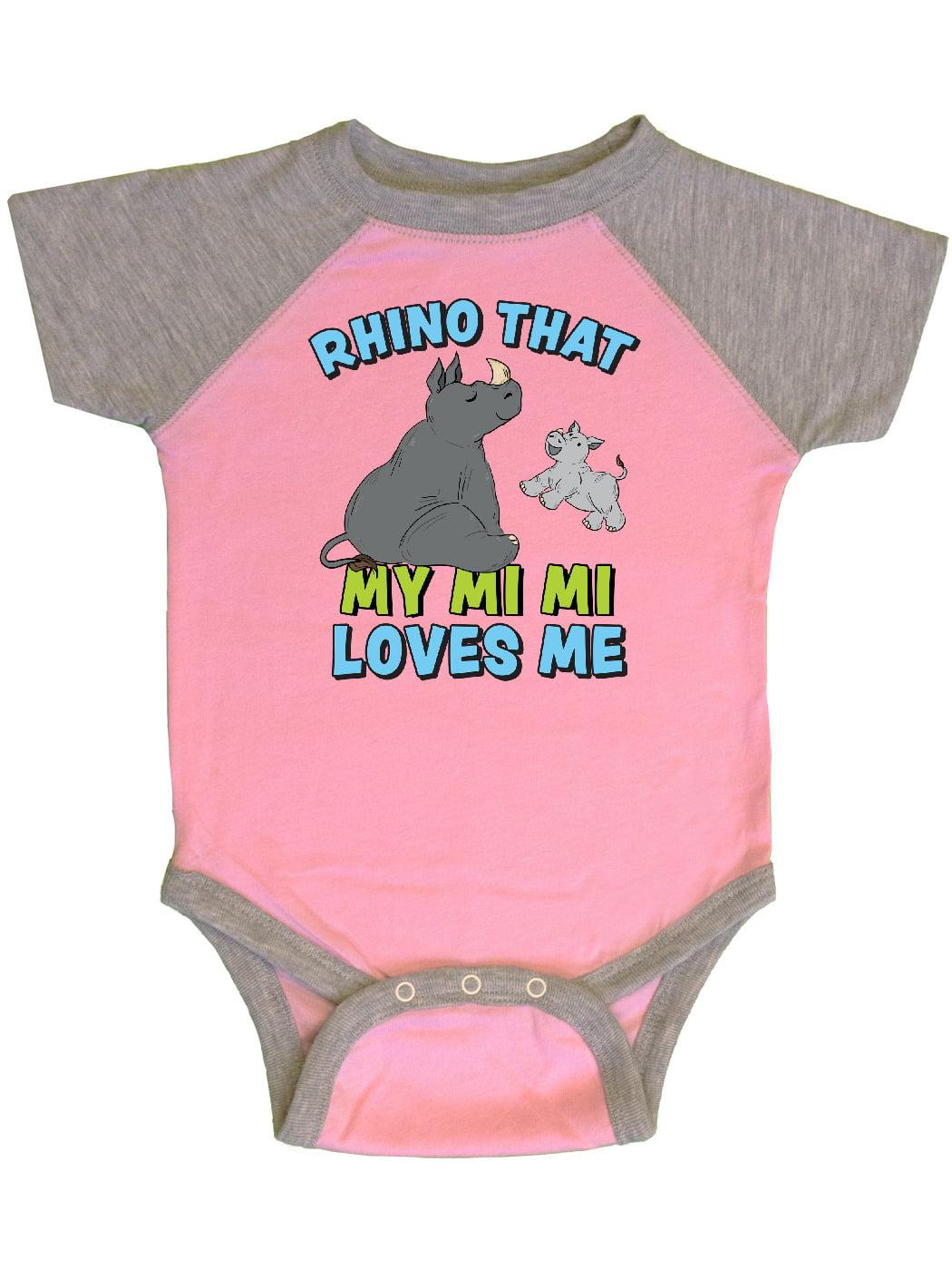 inktastic Rhino That My Mi Mi Loves Me with Cute Rhinos Long Sleeve Creeper