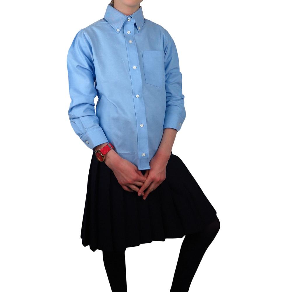 80s Light Blue Womans Collegiate OxfordLiz Sport Petite BlouseWomans Petite OxfordSchool Uniform TopSize S25Long43Chest18Sleeve