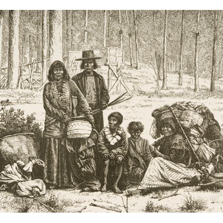 Indian Family Group West Of The Rocky Mountains From American Pictures Drawn With Pen And Pencil By Rev Samuel Manning Circa 1880 Canvas Art - Ken Welsh  Design Pics - Family Group Pic