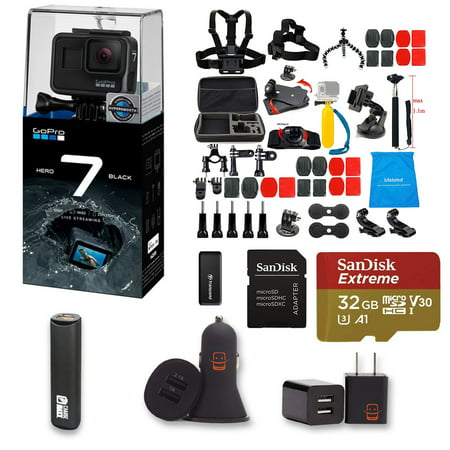 GoPro HERO 7 Black Action Camera + 47 Piece Accessory Kit + 32gb Extreme  Micro SD + Card Reader + PowerBank + Dual USB