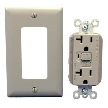 Gfi Rocker Outlet (PS Gray GFCI Straight Blade Receptacle GFI Outlet NEMA 5-20R 20A 125V PT2095-GRY )