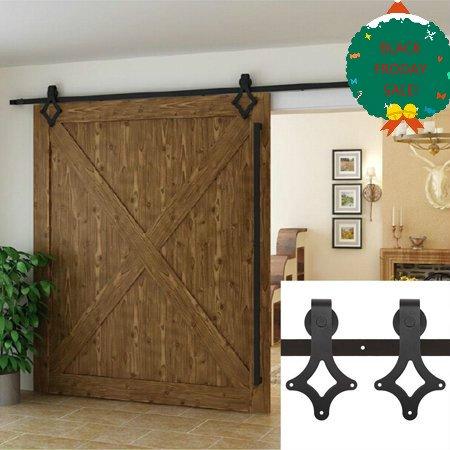 (Black Friday Big Sale! 6FT Sliding Barn Wooden Door Hardware Set Kit ,Carbon Steel  OCTAP(Door not included))