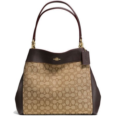 - NEW WOMEN'S COACH (F27579) OUTLINE KHAKI BROWN LEXY LEATHER SHOULDER BAG HANDBAG