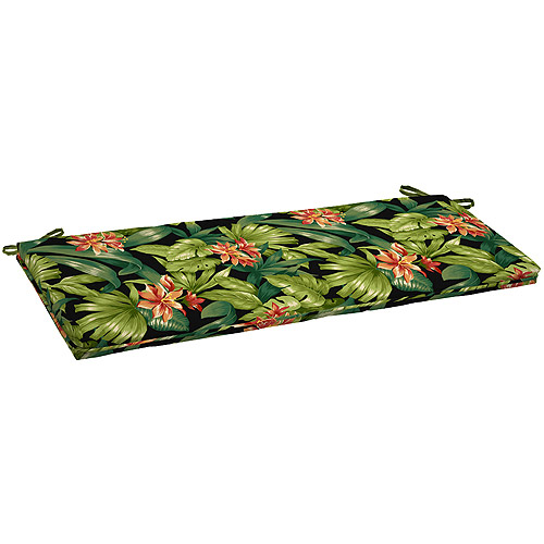 Better Homes and Gardens Outdoor Bench Cushion, Black Tropical