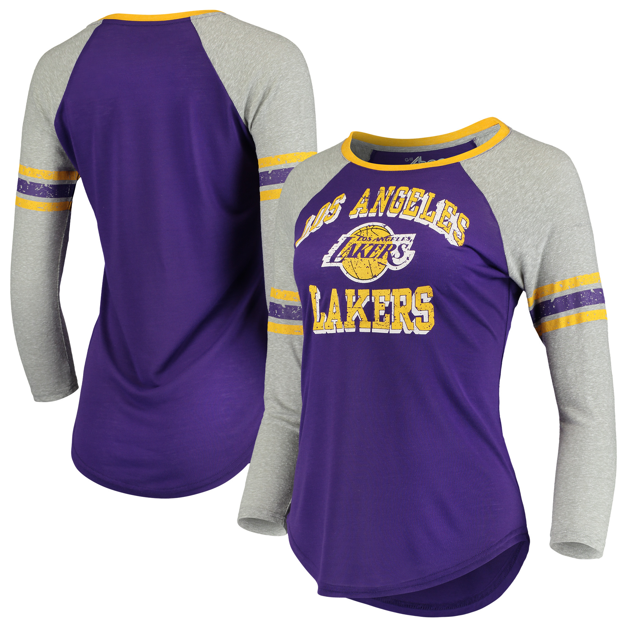 Los Angeles Lakers G-III 4Her by Carl Banks Women's The Court Tri-Blend Raglan 3/4-Sleeve T-Shirt - Purple/Heathered Gray