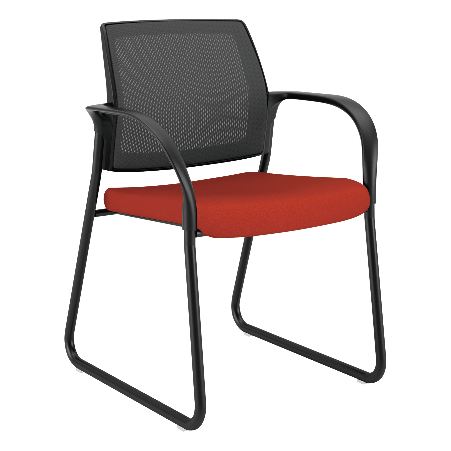 HON Ignition Series Mesh Back Guest Reception Waiting Room Chair with Sled Base,Poppy Fabric Upholstery
