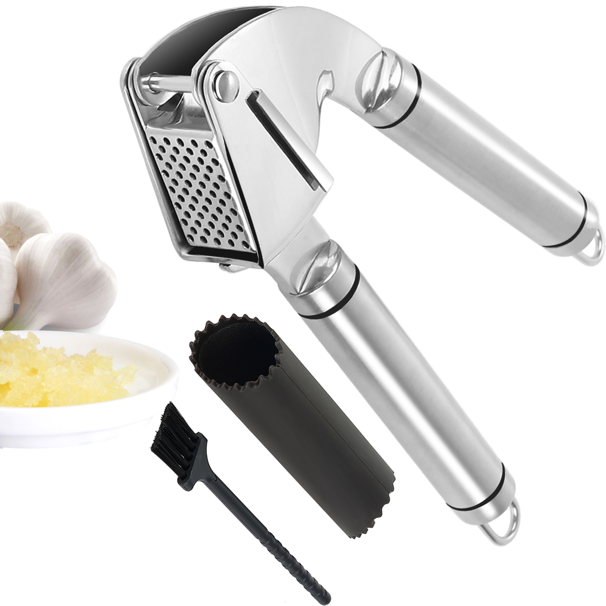 Stainless Steel Garlic Press,Grillers Garlic Press and Peeler Set and Silicone Tube Roller