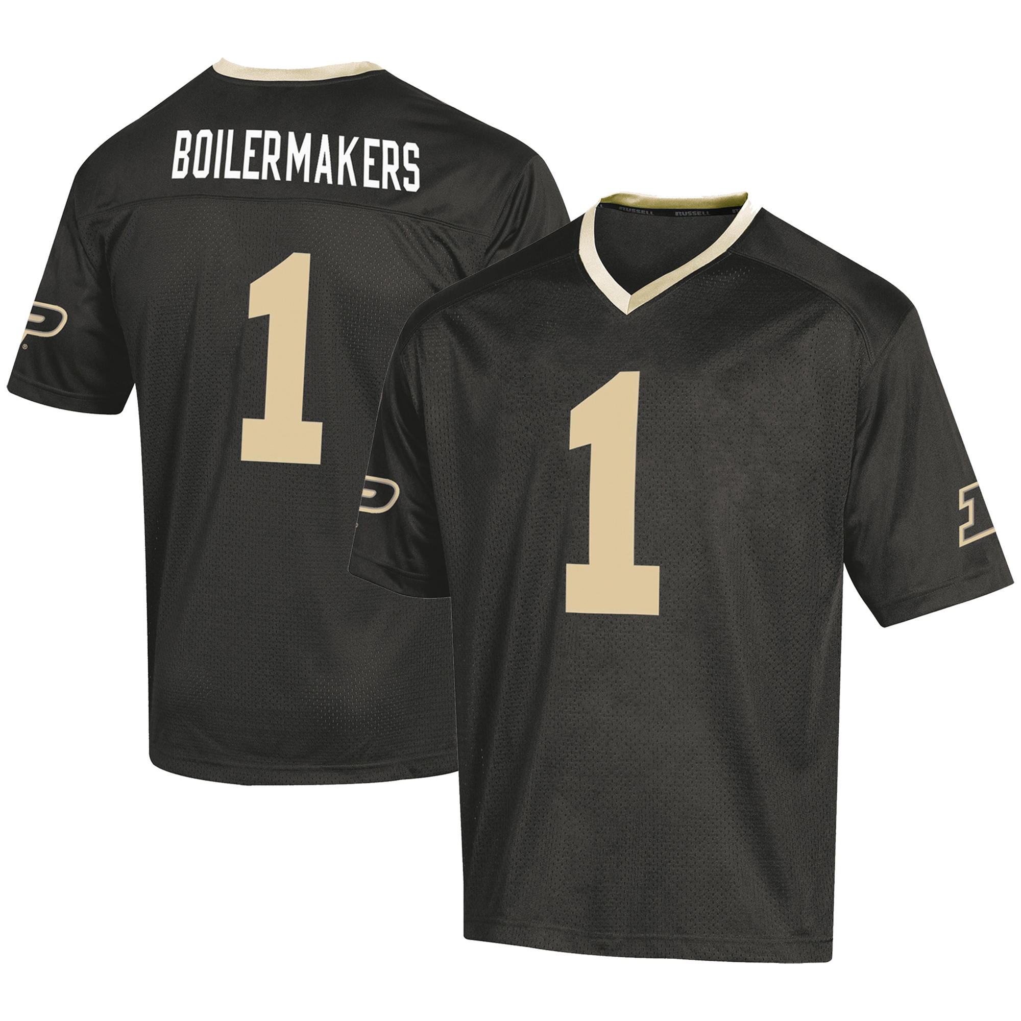Men's Russell #1 Black Purdue Boilermakers Fashion Football Jersey