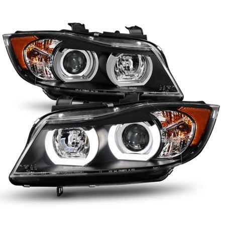 E90 Sedan - HID Xeon Fit 06-08 BMW E90 3-Series Sedan Black 3D LED Halo Projector Headlights