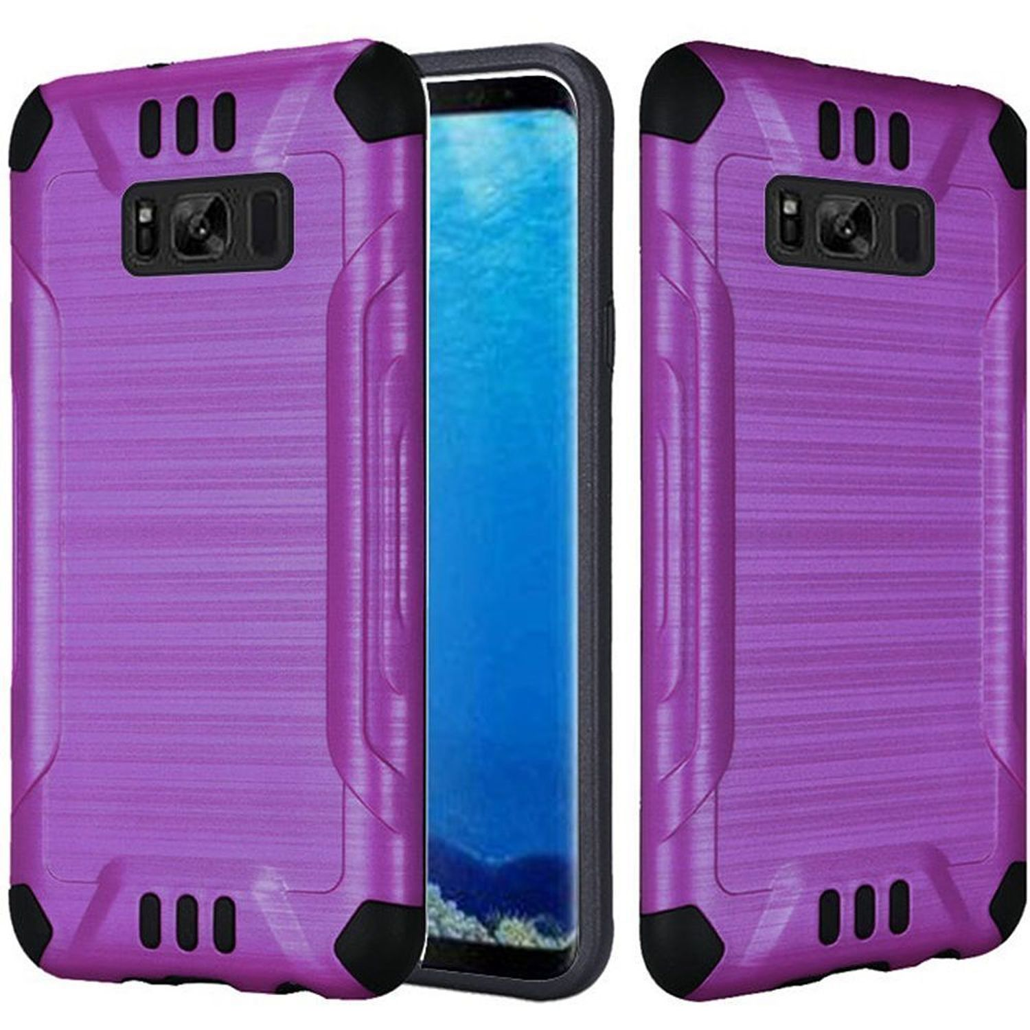 insten Slim Armor Dual Layer [Shock Absorbing] Hybrid Brushed Hard Plastic/Soft TPU Rubber Case Phone Cover For Samsung Galaxy S8, Purple/Black